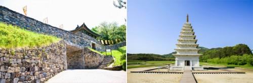 Forteresse Gongsanseong à Gongju (à g.) et Mireuksaji à Iksan (à d.)
