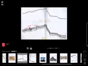 images extraites, sélection sur la carte du thème iconographique de la Montagne Sainte Victoire. cd-rom Véra Molnar, journaux intimes 1976-2004, éditions Présent Composé, rennes, 2009.