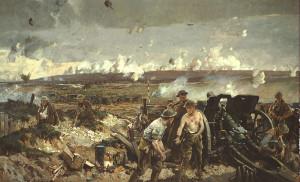 "Bild: ""The Battle of Vimy Ridge"" (ca. 1918), kollorierte Fotodruck von Richard Jack   Library and Archives Canada, Reproduction reference no. C-000148/MIKAN IDno. 2837452   Public Domain"