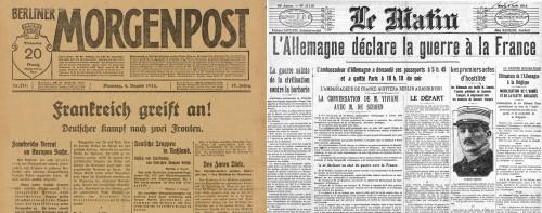 """Une du """"Berliner Morgenpost"""" du 4 aout 1914 : """"Frankreich greift an !"""", DHM, DG 90/6403.14 / Une du """"Matin"""" du 4 aout 1914 : """"L'Allemagne déclare la guerre à la France"""", BNF"""