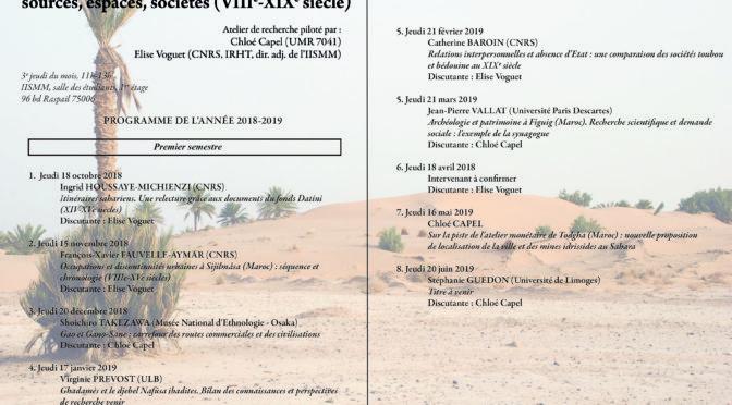 Séminaire «mondes sahariens». Séance du jeudi 18 avril 2019