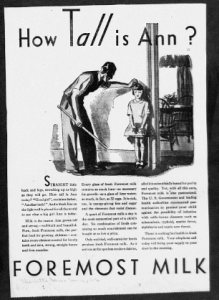 "Fig. 10. ""How Tall is Ann"". Publicité pour Foremost Milk. 1929-1930. Source : J. Walter Thompson Company. 35mm Microfilm Proofs, 1906-1960 and undated. Reel 9."