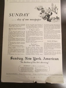 Publicité pour l'hebdomaire The Sunday New York American, New York, 1922. Source : JWT Newsletter Collection, 1910-2005, Box MN2