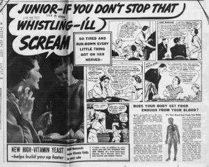 "Fig.12a.""Junior if you don't stop that I scream"". Publicité pour Fleischmann's Yeast, Erie Daily Times, March 28, 1939, p.3 (détail). Source : J. Walter Thompson Company. 35mm Microfilm Proofs, 1906-1960 and undated. Reel 49."