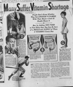 "Fig.10. ""Many suffer vitamines shortage"". Publicité pour Fleischmann's Yeast. Huntington Advertiser, W. Va, Tuesday Evening, November 16, 1937, p.9 (détail). Source : J. Walter Thompson Company. 35mm Microfilm Proofs, 1906-1960 and undated. Reel 49."