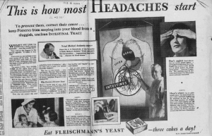 "Fig.11. ""This is how most headaches start"". Publicité pour Fleischmann's Yeast, New Haven Evening Register, Wednesday May 13, 1931, p.21 (détail). Source : J. Walter Thompson Company. 35mm Microfilm Proofs, 1906-1960 and undated. Reel 49."