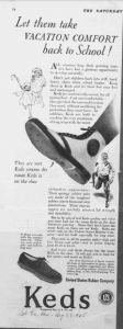 "Fig.17. ""From vacation to school"". Publicité pour Keds' Shoes, Saturday Evening Post, 29 août 1925, p.74. Source : J. Walter Thompson Company. 35mm Microfilm Proofs, 1906-1960 and undated. Reels 38."