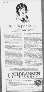 "Fig.9. ""She depends so much on you..."". Publicité pour les pianos Gulbransen (détail), Progressive Grow, 30 octobre 1926, p.14. Source : J. Walter Thompson Company. 35mm Microfilm Proofs, 1906-1960 and undated. Reel 12."