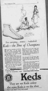 "Fig.27. ""For camping, tennis basketball. Keds - the shoes of Champions"". Publicité pour le modèle The Diana, Keds' shoes, American Girl, octobre 1926"