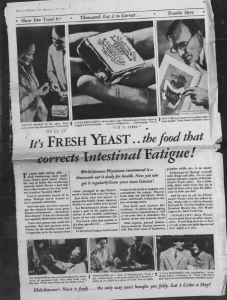 "Fig.15.  ""It's Fresh Yeast..."" Publicité pour Fleischmann's Yeast. Kansas Farmer, January 17, 1931, p.9. Source : J. Walter Thompson Company. 35mm Microfilm Proofs, 1906-1960 and undated. Reel 49."