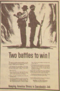 """Fig. 2 - """"Two battles to win"""". Publicité pour The Instistute of Life Insurance. Source : """" The Institude for Life Insurance Breaks Timely New Advertising Theme Today"""", The JWT News, 14 août 1950. Vol. V no33, p.1. J. Walter Thompson Newsletter Collection, 1910-2005, Box MN9 (1945-1950)."""