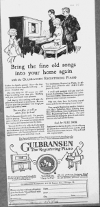 "Fig.1. ""Bring the fine old songs into your home again..."". Publicité pour les pianos Gulbransen, 1926. Source : J. Walter Thompson Company. 35mm Microfilm Proofs, 1906-1960 and undated. Reel 12."