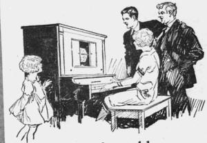 """Fig.1.a. Trop jeune encore, la petite fille est condamnée à écouter et observer les musiciens adultes. """"Bring the fine old songs into your home again..."""". Publicité pour les pianos Gulbransen (détail), 1926. Source : J. Walter Thompson Company. 35mm Microfilm Proofs, 1906-1960 and undated. Reel 12."""