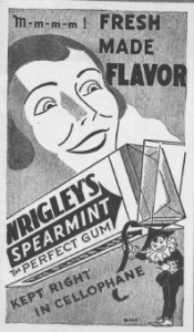 Fig.8. Fig.7. That flagrant flavor of fresh spearmint! Publicité pour Hathaway. Source inconnue, non datée, vers 1931. Source : J. Walter Thompson Company. 35mm Microfilm Proofs, 1906-1960 and undated. Reel 40.