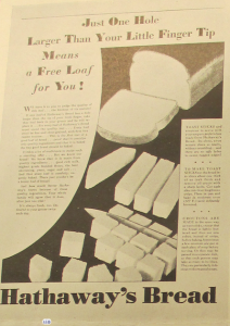 """Fig.1. """"Just one hole larger than your little finger tip means a free loaf for you!"""" Publicité pour Hathaway Baking Co. Source : """"New Bread Idea Sends Hathaway Sales Up », JWT News, Mai 1930, p.2. Source : J. Walter Thompson Newsletter Collection, 1910-2005, Box OV1 (mars 1930-mars 1931)"""