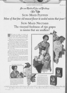 Fig.46. Publicité pour Sun-Maid Puffed et Sun-Maid Nectars. Laides' Home Journal. Décembre 1927. Source : J. Walter Thompson Company. 35mm Microfilm Proofs, 1906-1960 and undated. Reel 36.