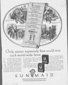 """Fig.44 """"Only Raisins supremely fine could win such world-wide favor"""". Saturday Evening Post, 6 août 1927. Source : J. Walter Thompson Company. 35mm Microfilm Proofs, 1906-1960 and undated. Reel 36."""