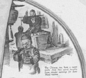 """Fig.44a """"Only Raisins supremely fine could win such world-wide favor"""" (détail). Saturday Evening Post, 6 août 1927. Source : J. Walter Thompson Company. 35mm Microfilm Proofs, 1906-1960 and undated. Reel 36."""