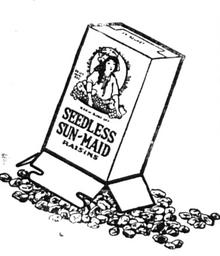 """Fig.45a. Le paquet chinois apparemment quasiment identique au paquet américain. Fig.45. Publicité pour """"Sun-Maid Seedless Raisins"""", Shenbao, 1928. Source : http://commonpeople.vcea.net/Image.php?ID=25415"""