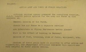 """Fig. """"Project - Advise Army Air Force on Public Relations""""."""
