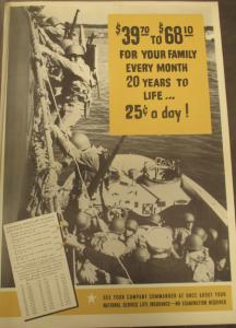 Fig. - $39,70 to $68,10 For Your Family Every Month 20 Years to Life…25 cents a day! - National Service Life Insurance. Dans cette publicité incitant les militaires à anticiper l'après-guerre en souscrivant une assurance-vie, le montant de la pension dépend de l'âge.