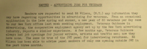Fig.13 - Wanted - Advertising jobs for Veterans.  The J.W.T Weekly News. 28 octobre 1946, Vol 1, No22, p.3.  Source : J. Walter Thompson Company. Newsletter Collection, 1910-2005. Box MN9 (1945-1950).