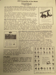 """Fig. 20 - """"JWT campaign - United Nations Day"""".  The J.W.T News, 16 octobre 1950, Vol V no42, p.3. Source : J. Walter Thompson Company. Newsletter Collection, 1910-2005. Box MN9 (1945-1950)."""