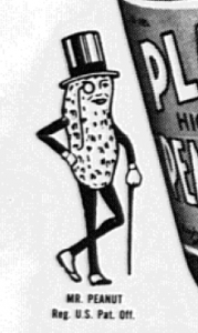 "Fig.26a. ""Mr. Peanut"" : un exemple d'incarnation publicitaire. ""No ration point for Planters Peanut Butter"" (détail). Publicité pour  Planters Peanut Butter. Philadelphia Bulletin, 7 décembre 1943. Source : J. Walter Thompson Company. 35mm Microfilm Proofs 1906-1960 and undated. Reel 60. Planters Nuts & Chocolate Co. (1943-1944)."