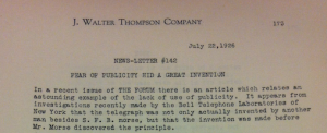 "Source : ""Fear of Publicity hid a Great Invention"", Newsletter #142, 22 juillet 1926, p.173. Source : J. Walter Thompson Company. Newsletter collection, 1910-2005. BOX MN7 (1925-1927)"