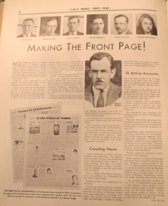 """Making the Front Page - Advertising vs Publicity"". J.W.T. News. Mai 1930. Vol. XII, no. 50, p.6. Source : J. Walter Thompson Company. Newsletter collection, 1910-2005. Oversize Newsletters, Box OV1 (1930-1931)"