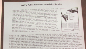 "Source : ""JWT Public Relations - Publicity Service"". The J.W.T News. 26 septembre 1949. Vol IV, no. 39. Source : J. Walter Thompson Company. Newsletter collection, 1910-2005. Box MN9 (1945-1950)."