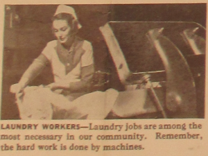 "Fig.73d - ""Laundry workers"". ""America Needs Women Like you in War Jobs"" (détail). Source inconnue, non datée. Source : J. Walter Thompson Company. World War II Advertising Collection, 1940-1948 and undated. Box 2 - ""America Recruiting Women for War-Related Work, 1944 and undated"""