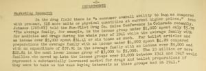 """Fig. 89 - """"Marketing Research"""" - The J.W.T News. 1er mars 1948, vol.III, no9, p.2. Source : J. Walter Thompson Company. Newsletter collection, 1910-2005. Box MN9 (1945-1950). L'enquête conclut à une augmentation des dépenses de santé des familles par rapport à l'avant-guerre (1941) : les familles consomment davantage de médicaments et sont prêtes à payer plus cher. C'est le signe d'une sensibilité accrue aux problèmes de santé peut-être aiguisée par les souffrances de la Seconde Guerre mondiale. Les familles américaines en plein essor constituent un marché prometteur."""