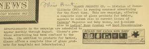 """Fig. 91 - """"Glasco Products - Round the Clock with Baby"""" - The J.W.T News. 10 mai 1948, vol.III, no18, p.1. Source : J. Walter Thompson Company. Newsletter collection, 1910-2005. Box MN9 (1945-1950). La publicité pour des récipients en verre pour bébé adopte le point de vue de la mère en décrivant les grands moments d'une journée type d'une mère américaine mère en phase avec le rythme du bébé."""
