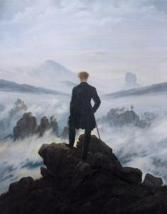Fig. 30 - Le modèle ? Caspar David Friedrich, Der Wanderer über dem Nebelmeer,  1817-1818, Hamburger Kunsthalle. Source : http://de.wikipedia.org/wiki/Der_Wanderer_%C3%BCber_dem_Nebelmeer.