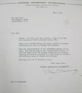 """Fig. 8 - Lettre de l'Outdoor Advertising Incorporated à Carl Crow, 1er mai 1941. Crow, Carl (1883 - 1945), Papers, 1913-1945, """"Correspondence Series"""", Folder 183 (1941, May). The State Historical Society of Missouri. Manuscript Collections, C41. Par cette lettre, cette compagnie dédiée à la publicité extérieure annonce que Crow va prochainement recevoir un exemplaire des 100 meilleures affiches de l'année 1940. Cette lettre témoigne que Crow est bien inséré dans les réseaux publicitaires américains et qu'il s'intéresse toujours à l'activité publicitaire, en particulier la publicité extérieure dont il avait fait l'une de ses spécialités à Shanghai."""