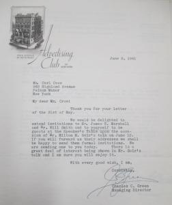 """Fig. 6 - Lettre de l'Advertising Club of New York. 3 juin 1941. Crow, Carl (1883 - 1945), Papers, 1913-1945, """"Correspondence Series"""", Folder 184 (1941, June). The State Historical Society of Missouri. Manuscript Collections, C41. Par cette lettre, l'Advertising Club of New York souhaite faire de Carl Crow l'invité d'honneur d'une de ses conférences."""