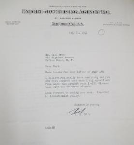 """Fig. 17 - Lettre d'un agent de l'Export Advertising Agency, Inc, 11 juillet 1941. Source : Crow, Carl (1883 - 1945), Papers, 1913-1945, """"Correspondence Series"""", Folder 185 (1941, July). The State Historical Society of Missouri. Manuscript Collections, C41. Si le publicitaire approuve dans cette lettre un projet de Carl Crow et lui recommande de proscrire tout isolationnisme, une lettre postérieure exprime ses réticences à l'égard d'un autre projet proposant de distribuer du matériel publicitaire à des enfants, signalant par là que Crow n'est peut-être pas tout à fait en phase avec les tendances de la publicité américaine contemporaine."""