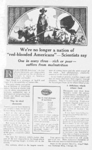 "Fig. 102 - ""We're no longer a nation of 'red-blooded Americans' – Scientists say"". Publicité pour Quaker Oats. Century, décembre 1920. Source : J. Walter Thompson Company. 35mm Microfilm Proofs 1906-1960 and undated. Reel 26. Le slogan trahit la peur nouvelle de la malnutrition dans l'entre-deux-guerres."