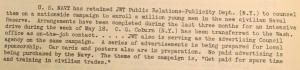 """Fig. 116 - """"US Navy"""". The J.W.T News. 14 avril 1947, vol.2, no.15, p.1. Source : J. Walter Thompson Company. Newsletter collection, 1910-2005. Box MN9 (1945-1950). Cette campagne institutionnelle réalisée pour la U.S. Navy prolonge après-guerre les services rendus au gouvernement par J.Walter Thompson pendant la guerre. Cette opération de grande ampleur (1 million de recrues) encourage les jeunes à s'engager dans l'armée de réserve de la Marine. Elle contribue par là brouiller les frontières entre le monde de la jeunesse et celui des adultes.  En ces temps où couve la Guerre froide, le front apparaît moins comme une zone interdite à l'enfance."""