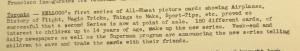 """Fig. 122 - """"Toronto - Kellogg's campaign pour All Wheat"""". The J.W.T News. 24 juin 1946, vol.1, no.4, p.2. Source : J. Walter Thompson Company. Newsletter collection, 1910-2005. Box MN9 (1945-1950). Cette publicité pour la marque de céréales""""All Wheat"""" pense attiturer les enfants de moins de 14 ans au moyen de cartes à collectionner et à échanger avec ses amis, et en exploitant l'imaginaire de l'aviation (sans doute stimulé par la guerre encore fraîche dans les mémoires), du sport, de la magie et des superhéros. Adossée à la presse (quotidiens et suppléments hebdomadaires du week-end et quotidiens), la publicité participe là encore à la consolidation de la culture jeune."""