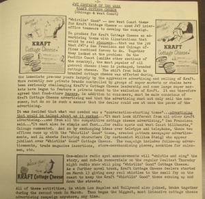 """Fig. 131 - """"JWT Campaign - Kraft Cottage Cheese"""" - The J.W.T News. 11 avril 1949, vol.III, no.15, p.3. Source : J. Walter Thompson Company. Newsletter collection, 1910-2005. Box MN9 (1945-1950). Un cas illustrant l'émergence d'un old appeal après la guerre ? Bien que l'âge du consommateur ne soit pas explicité dans la note de campagne, les images publicitaires mettent en scène des personnes plus âgées, hommes ou femmes, signalés par leur moustache et leur chevelure blanche, qui sont représentées sous un visage sympathique voire humoristique."""