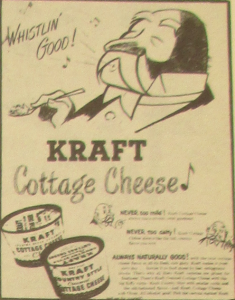 "Fig. 131a - ""JWT Campaign - Kraft Cottage Cheese"" (détail - homme) - The J.W.T News. 11 avril 1949, vol.III, no.15, p.3. Source : J. Walter Thompson Company. Newsletter collection, 1910-2005. Box MN9 (1945-1950)."
