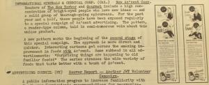 """Fig. 134 - """"International Minerals & Chemical Corp - New Ac'cent Copy"""" - The J.W.T News. 3 juillet 1950, vol.V, no.27, p.1. Source : J. Walter Thompson Company. Newsletter collection, 1910-2005. Box MN9 (1945-1950). Cette publicité reprend la même argumentation que Fleischmann's Yeast ou Sun-Maid Raisins dans l'entre-deux-guerres : elle vend un produit à la fois innovant mais familier (Surprising things are happening to old familiar food) susceptible de séduire les jeunes en quête de nouveauté sans pour autant déstabiliser les plus âgés agrippés à leurs habitudes. Les images incarnent ce souci de couvrir la totalité du spectre des âges et des sexes, en représentant deux types de consommateur : un consommateur mâle âgé (signalé par son crâne chauve et sa moustache) et une jeune femme."""