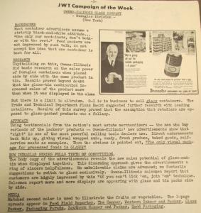 """Fig. 136 - """"JWT Campaign of the week - OIG (Duraglas Division)"""" - The J.W.T News. 10 juillet 1950, vol.V, no.28, p.3. Source : J. Walter Thompson Company. Newsletter collection, 1910-2005. Box MN9 (1945-1950). La compagnie OIG que nous avons déjà rencontrée dans le cadre de notre étude sur la prime enfance ne se limite pas au marché infantile : dans cette publicité de 1950, le vieillard vole la vedette au bébé des années 1940."""