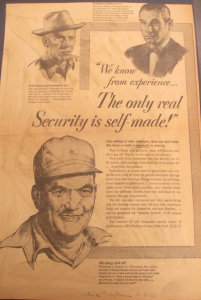 "Fig.146 - ""We know from experience... The only real Security is self-made!"". Publicité pour Life Insurance Companies. Chicago Tribune, 3 avril 1950. Source : J. Walter Thompson Company. Domestic Advertisements collection 1875-2001 and undated, bulk 1920s-1990s. Institute of Life Insurance. Box IL2 (1946-1953)."