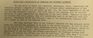 "Fig. - ""Slide Film Presentation of Campaign for Economic Literacy - 'This is Our Problem'"" - The J.W.T News. 1er mars 1948, vol.III, no.9, p.2. Source : J. Walter Thompson Company. Newsletter collection, 1910-2005. Box MN9 (1945-1950)."