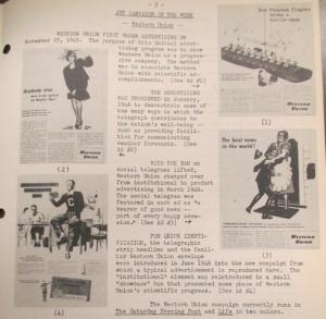 """Fig. 162 - """"JWT Campaign of the Week - Western Union"""". J.W.T. News. 10 février 1947, Vol.2, no.6, p.3. Source : J. Walter Thompson Company. Newsletter collection, 1910-2005. Box MN9 (1945-1950). La compagnie choisit comme Brillo d'évoquer le retour des vétérans, encore deux ans après la fin officielle des combats. Western Union campagne qui évoque le retour des vétérans. Elle témoigne que les traces de la Seconde Guerre mondiale sont lentes à s'effacer."""