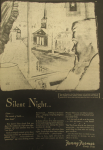 "Fig. 200 - Un cas de sponsor féminin. ""Silent Night"" - Affiche de propagande sponsorisée par Fanny Farmer Candy Shops. New York Times, 7 juin 1945. Source : J. Walter Thompson Company. World War II Advertising collection, 1940-1948 and undated. Box 2 (Oversize) - ""War Bond Advertisements, 1942-1945 and n.d."