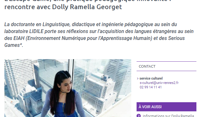 [Interview] L'Escape Game, une pratique pédagogique innovante : rencontre avec Dolly Ramella Georget